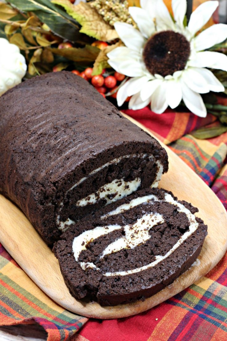 Chocolate Pumpkin Spice Rolled Cake