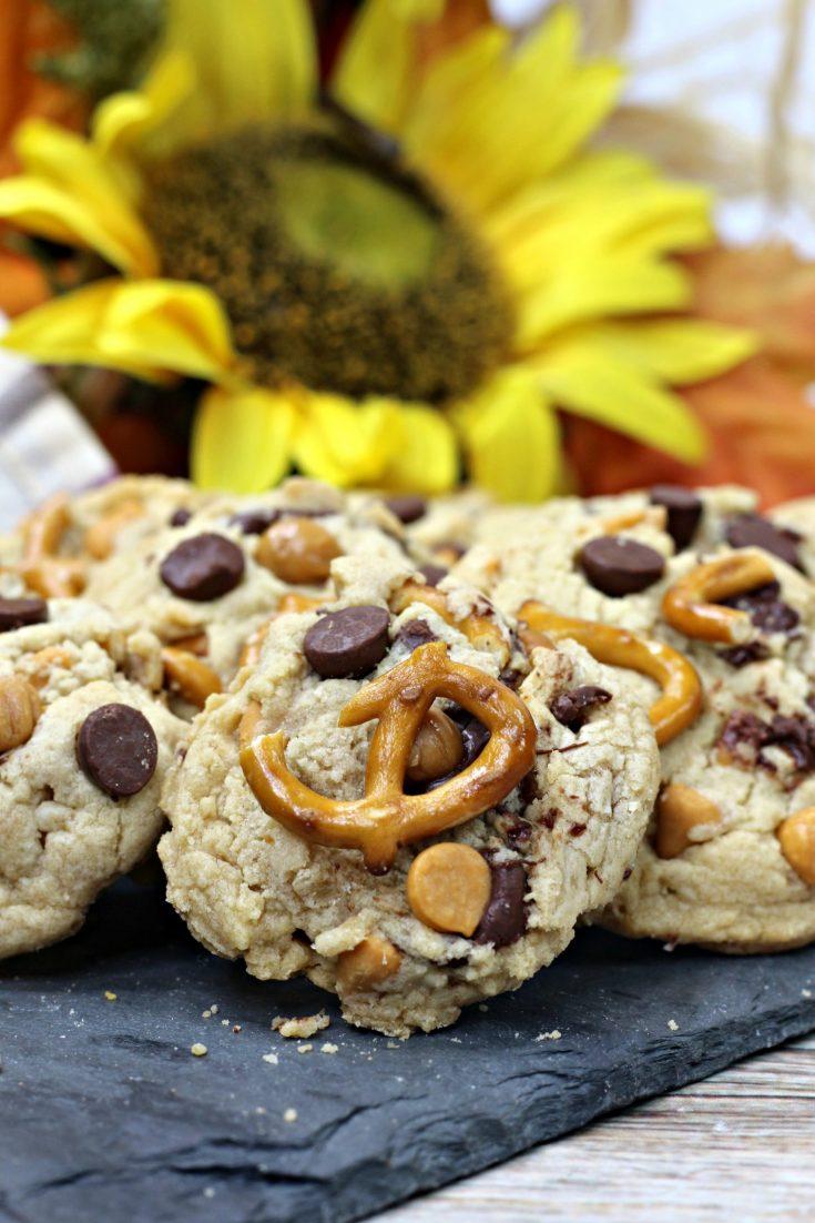 Sea salt caramel pretzel cookies