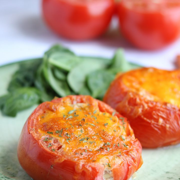 Keto Tuna Melt Stuffed Tomatoes